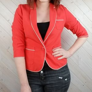 BP.   Coral Lined Blazer with White Piping